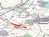Passow, die Umgehungsstraße und die arch. Fundplätze (Kartenausschnitt)